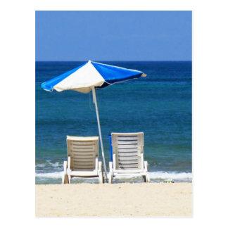 Beach chairs postcard