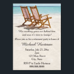 "Beach Chairs Retirement Party Invitations<br><div class=""desc"">This fun invitation features a photo of two beach chairs on a tropical white sand beach. The beautiful blue ocean waters are in the distance. Personalize this invitation with the details of your retirement party. The back has plenty of space for information if you want to upload a photo, map...</div>"