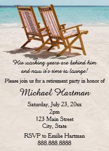 Retirement party invitations zazzle beach chairs retirement party invitations stopboris Images