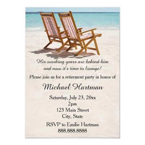 Beach Chairs Retirement Party Invitations