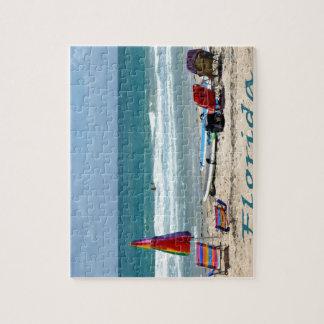 beach chairs surfboards umbrellas sand ocean jigsaw puzzles