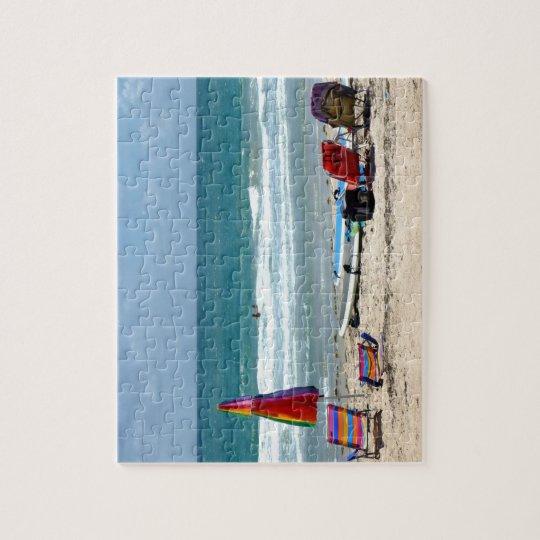 beach chairs surfboards umbrellas sand ocean sm jigsaw puzzle