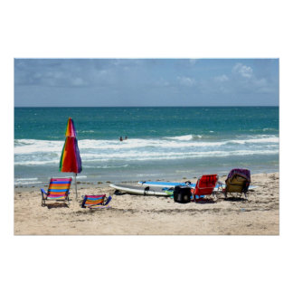 beach chairs surfboards umbrellas sand ocean sm poster