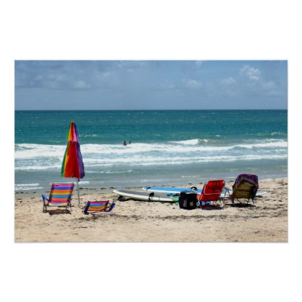 beach chairs surfboards umbrellas sand ocean sm posters