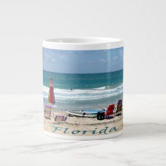 beach chairs surfboards umbrellas sand ocean extra large mugs