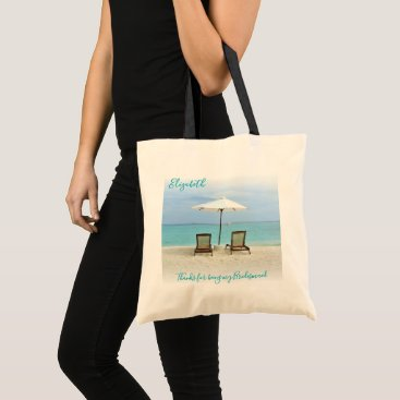 Beach Themed Beach Chairs Thank You Bridesmaid Message Bag