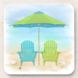 Beach Chairs, Umbrella, Beach Drink Coaster