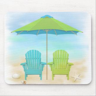 Beach Chairs, Umbrella, Beach Mouse Pad