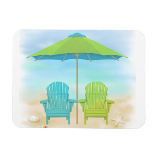 Beach Chairs, Umbrella, Beach Rectangle Magnet