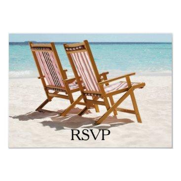 Beach Themed Beach Chairs Wedding RSVP Card