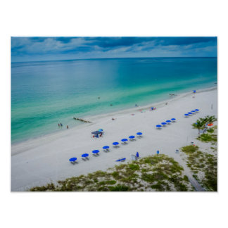 Beach Chairs with Blue Umbrella on Madeira Beach Poster