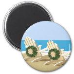 Beach Chairs & Wreaths 2 Inch Round Magnet