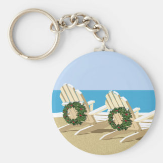 Beach Chairs & Wreaths Basic Round Button Keychain