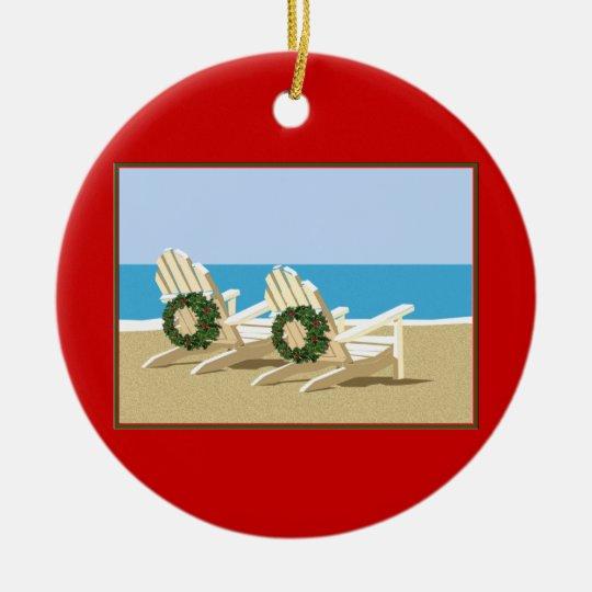 Beach Chairs & Wreaths Ceramic Ornament