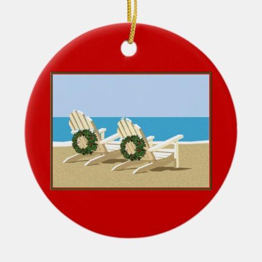 Beach Chairs & Wreaths Christmas Ornament