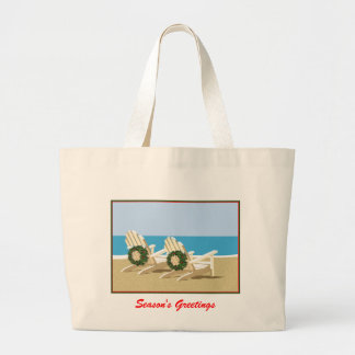 Beach Chairs & Wreaths Large Tote Bag