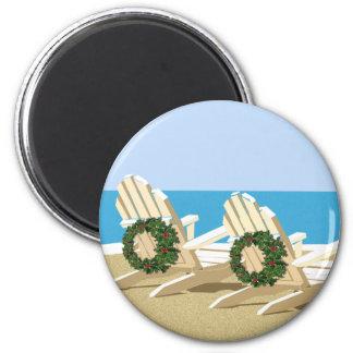 Beach Chairs & Wreaths Magnet