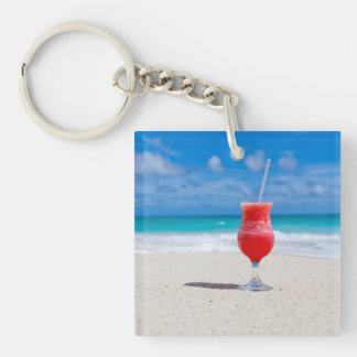 Beach Cheers Double-Sided Square Acrylic Keychain