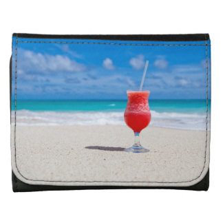 Beach Cheers Leather Trifold Wallet