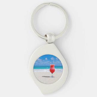 Beach Cheers Silver-Colored Swirl Metal Keychain