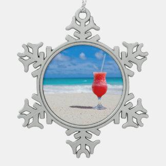Beach Cheers Snowflake Pewter Christmas Ornament