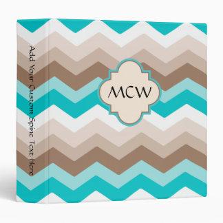 Beach Chevron Zigzag Monogram Vinyl Binder
