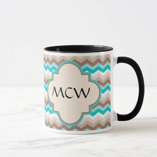 Beach Chevron Zigzag Monogram Mug