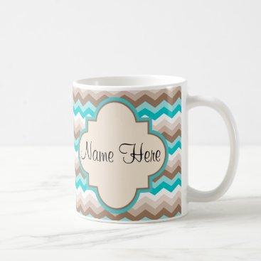 Coffee Themed Beach Chevron Zigzag Name Coffee Mug