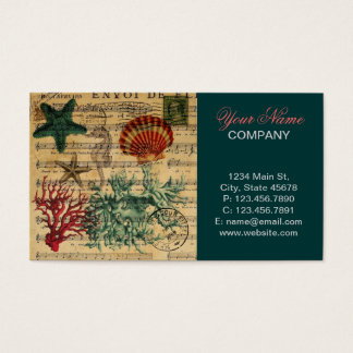 beach chic coastal coral seahorse seashell business card
