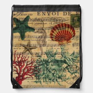 beach chic coastal coral seahorse seashell drawstring backpack