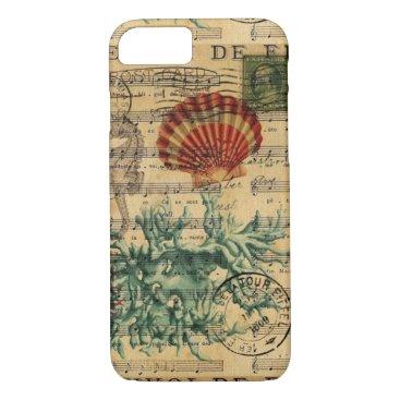 Beach Themed beach chic coastal coral seahorse seashell iPhone 7 case