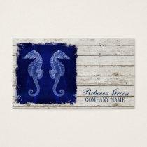 beach chic drift wood nautical blue seahorse business card
