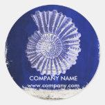 beach chic drift wood nautical blue seashells classic round sticker