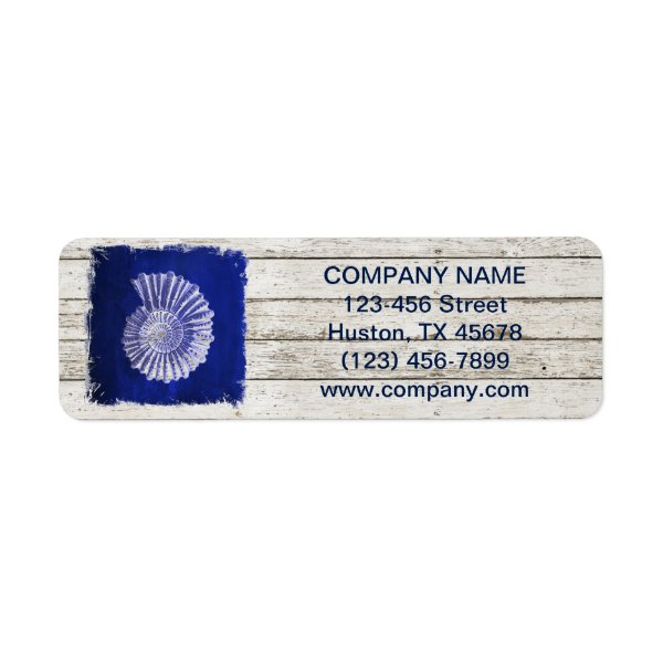 beach chic drift wood nautical blue seashells label