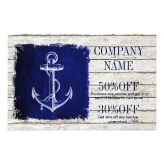 beach chic wood nautical navy blue anchor flyer