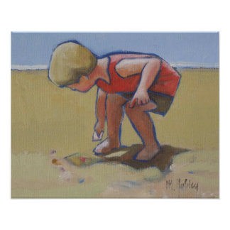 Beach child boy findng shell in the sand posters