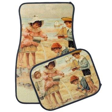 Beach Themed Beach Children Vintage Victorian Sand Car Mat