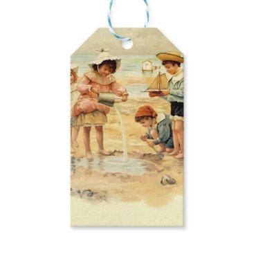 Beach Themed Beach Children Vintage Victorian Sand Gift Tags