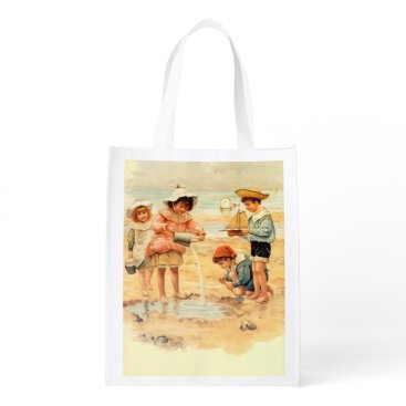 Beach Themed Beach Children Vintage Victorian Sand Grocery Bag