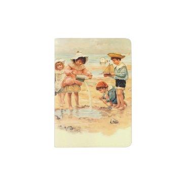 Beach Themed Beach Children Vintage Victorian Sand Passport Holder