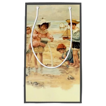 Beach Themed Beach Children Vintage Victorian Sand Small Gift Bag