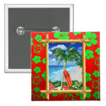 Beach Christmas 2 Inch Square Button
