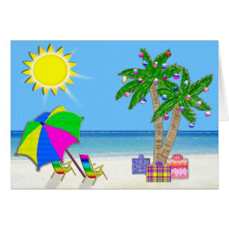 Beach Christmas Cards, Cheery Palm Trees, Sunshine Greeting Card
