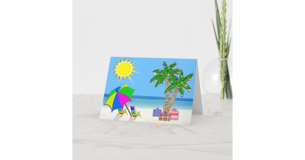 Beach Christmas Cards, Cheery Palm Trees, Sunshine Holiday Card ...