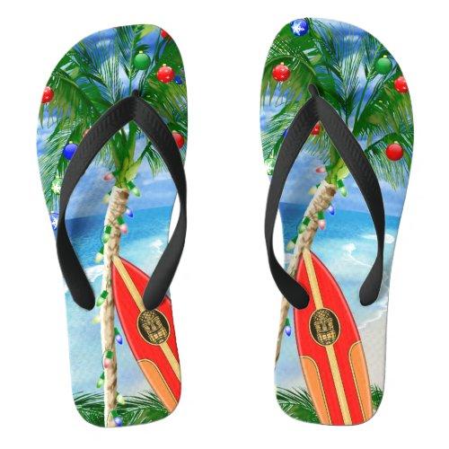 Beach Christmas Flip Flops