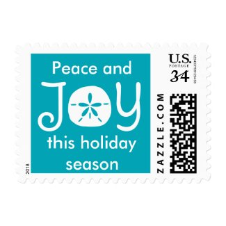 Beach Christmas Holiday Joy Sand Dollar Postage