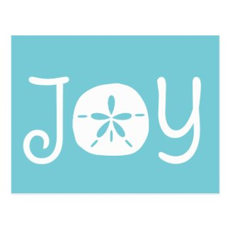 Beach Christmas Holiday Joy Sand Dollar Postcard