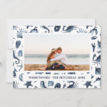 "Beach Christmas Holidays Nautical Landscape Photo Holiday Card<br><div class=""desc"">Beach Christmas photo cards. Tropical seashells,  starfish,  crab,  sand dollars,  seahorse pattern in blue.</div>"