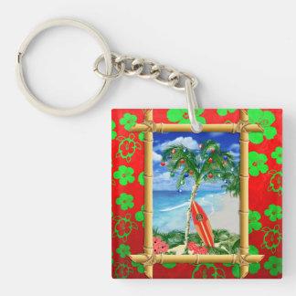 Beach Christmas Square Acrylic Key Chain