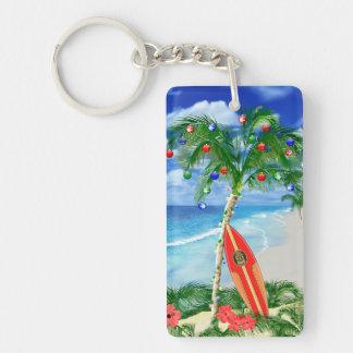 Beach Christmas Rectangular Acrylic Keychain